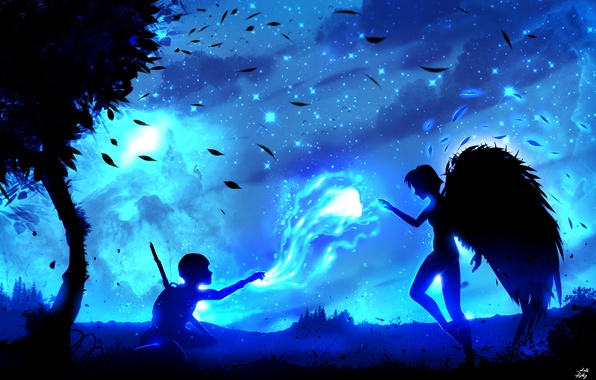 Picture girl, stars, night, the wind, foliage, wings, angel, spirit, guy, silhouettes