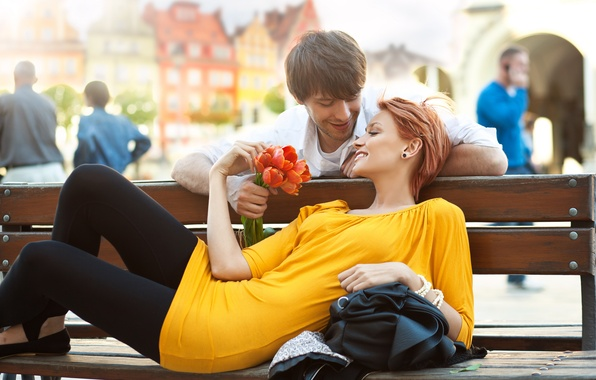 Picture girl, flowers, bench, the city, people, positive, dress, pair, tulips, red, guy, smile