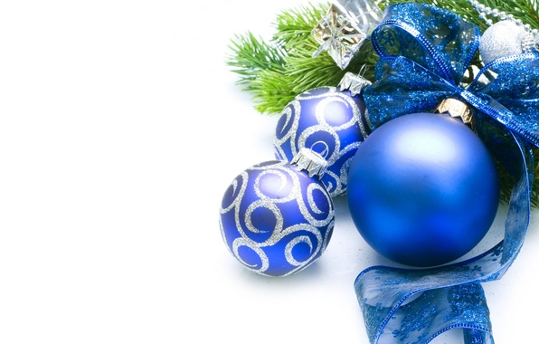 Picture holiday, balls, toys, tree, New year, bow, blue, New Year