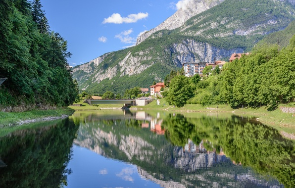 Picture forest, mountains, bridge, lake, reflection, Italy, Italy, The Dolomites, Dolomites, Trentino, Trento, Lake Molveno, lake …