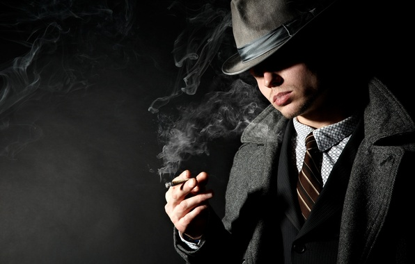 Picture smoke, shadow, hat, cigarette, costume, male, jacket, coat