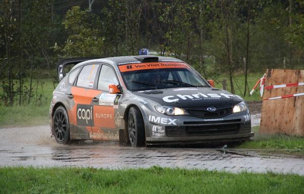 Picture rain, dirt, subaru, rally, wrx, impreza, sti