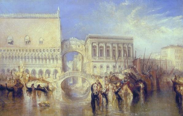 Picture the city, boat, home, picture, Italy, Venice, channel, the urban landscape, William Turner, The Bridge …
