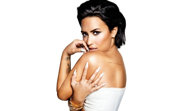 Picture pose, makeup, brunette, tattoo, hairstyle, white background, singer, Demi Lovato, Demi Lovato, Confident, New Album