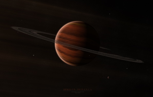 Picture stars, planet, ring, satellites, gas giant, Epsilon eridani b