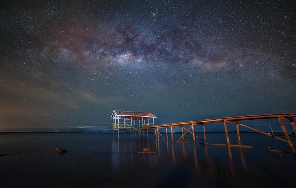 Picture stars, lake, reflection, mirror, pierce, The Milky Way, secrets