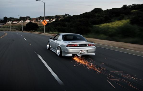 Picture road, nissan, sparks, road, skyline, Nissan, skyline