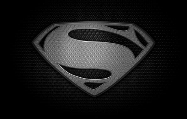 Picture black, logo, logo, superman, black, Superman, man of steel, Man of steel