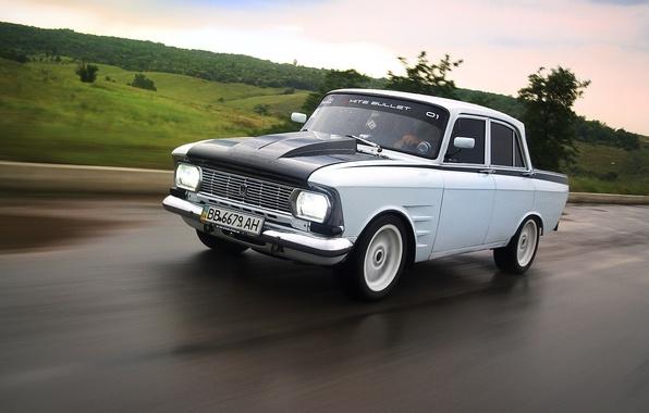 Picture asphalt, speed, car, Muscovite, AZLK, Moskvich 412, white bullet