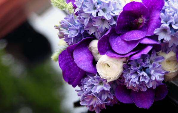 Picture white, lilac, Bouquet, Orchid, hyacinth, Ranunculus, Wanda