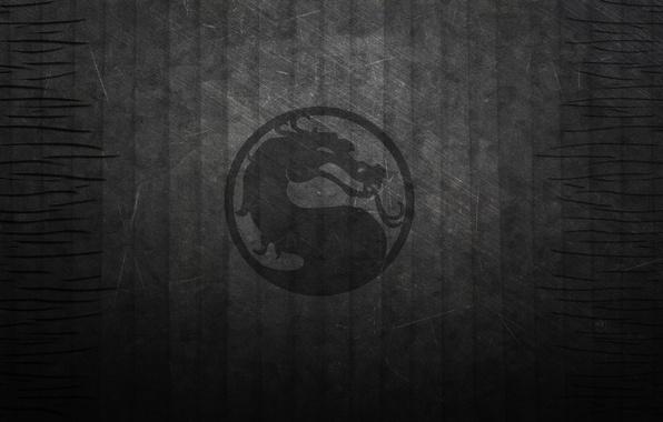 Picture strip, the dark background, black, dragon, texture, logo, mortal kombat