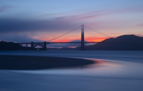 Picture the sky, clouds, sunset, orange, bridge, Strait, the evening, CA, San Francisco, Golden Gate, USA, …
