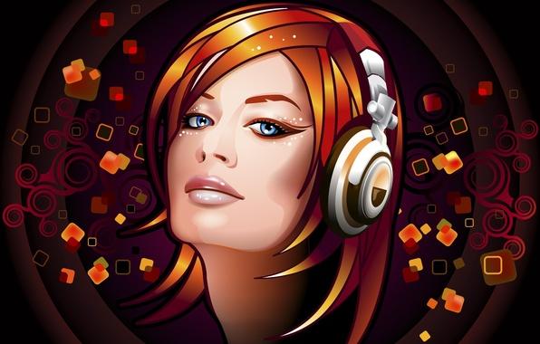 Picture eyes, look, girl, music, hair, haircut, vector, headphones, Strelki