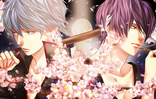 Picture flowers, smoke, art, guys, bandages, gintama, sakata gintoki, takasugi shinsuke, momota, yoshida shouyou