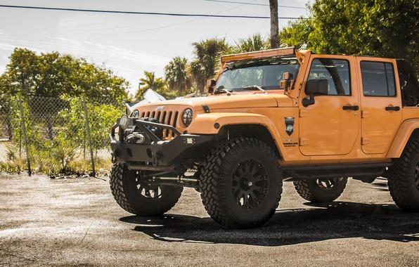 Picture wheels, monster, jeep, orange, 4x4, offroad, jeep wrangler, big rims, tires, sahara