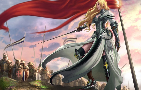Picture pose, weapons, sword, armor, art, army, girl. warrior, red flag