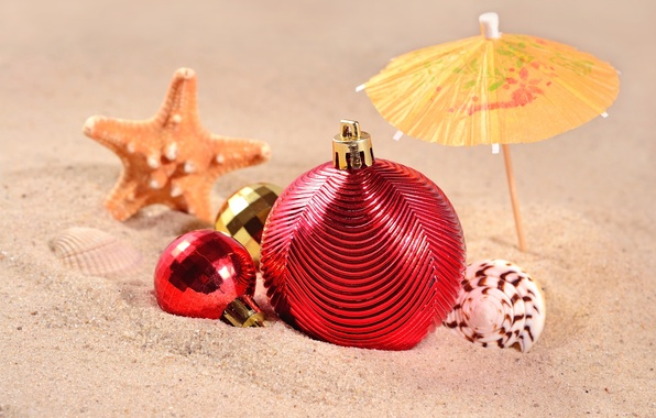 Picture sand, sea, beach, decoration, toys, New Year, shell, beach, sea, sand, shore