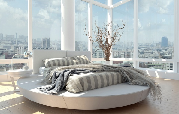 Picture window, room, bed