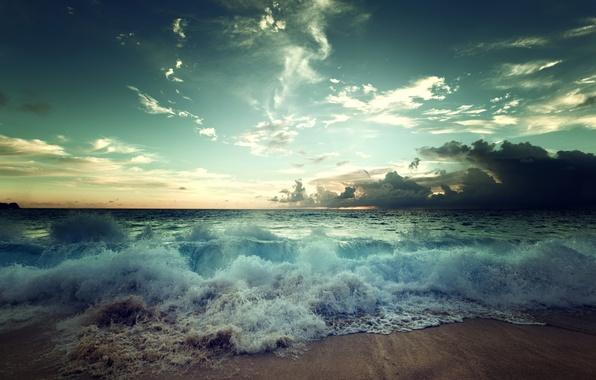 Picture sand, sea, wave, clouds, shore, surf