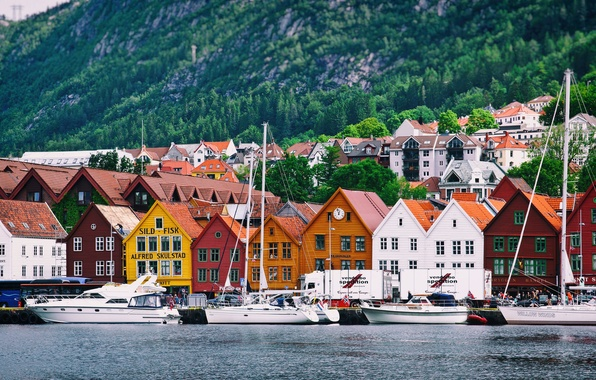Picture sea, mountains, the city, home, yachts, Norway