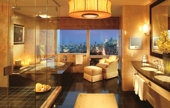 Picture yellow, design, the city, style, lamp, room, view, interior, chair, candles, window, shower, bathroom, gold, …