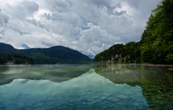 Picture the sky, water, clouds, trees, mountains, nature, lake, river, tree, landscapes, mountain, lake, haze, forest, …