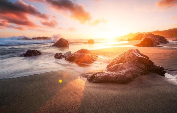 Picture sea, beach, the sun, light, nature, stones