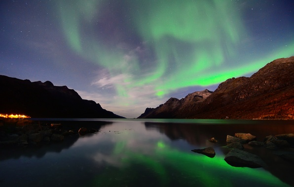Picture stars, mountains, night, reflection, Northern lights, Norway, Bay