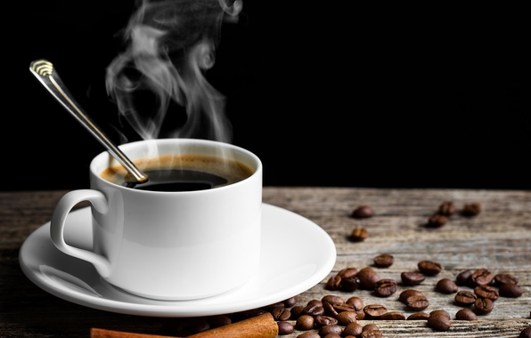 Picture table, coffee, hot, grain, spoon, Cup, white, drink, cinnamon