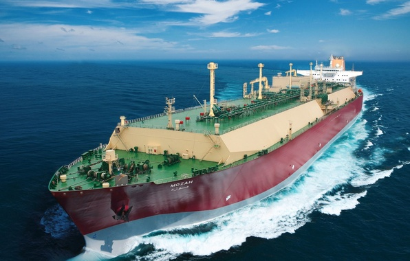 Picture sea, the sky, ship, tanker