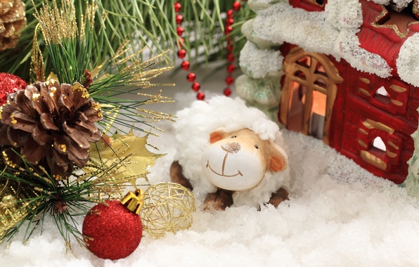 Picture decoration, New Year, sheep, New Year, sheep, decoration, Happy, 2015