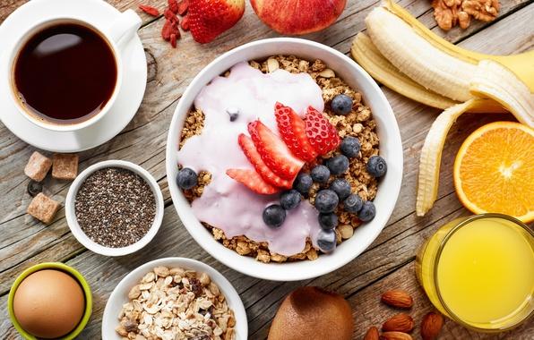 Photo wallpaper strawberry, Juice, kiwi, juice, blueberries, Breakfast, strawberry, blueberry, banana, coffee, Muesli, muesli, Coffee, nuts, nuts, ...