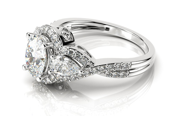 Picture ring, diamond, glitter