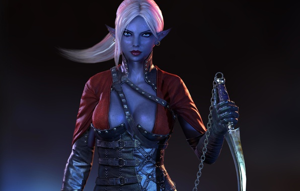 Picture chest, look, weapons, background, chain, corset, elf
