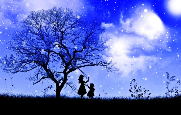 Picture the sky, grass, girl, stars, clouds, night, branches, tree, child