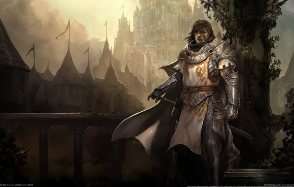 Picture bridge, fog, weapons, castle, sword, armor, warrior, ladder, railings, knight, cloak, game wallpapers, Guild wars ...
