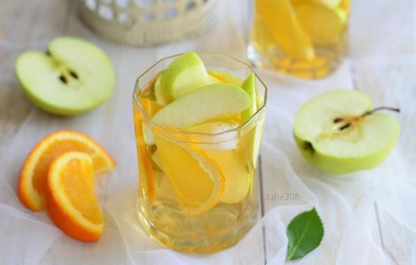 Picture Apple, orange, drink, lemonade