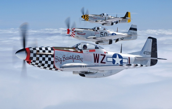 Picture the sky, clouds, the plane, Mustang, fighter, pilot, flies, P-51, North American