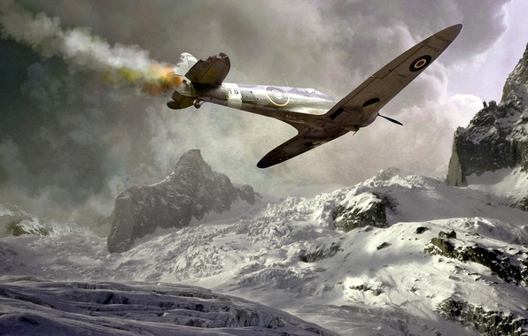 Picture winter, crash, snow, mountains, the plane, war, smoke, drop, Spitter, lined, Spitfire