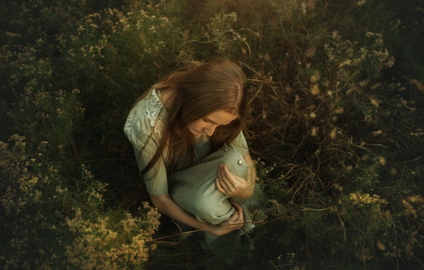 Picture grass, girl, TJ Drysdale, Evening Light