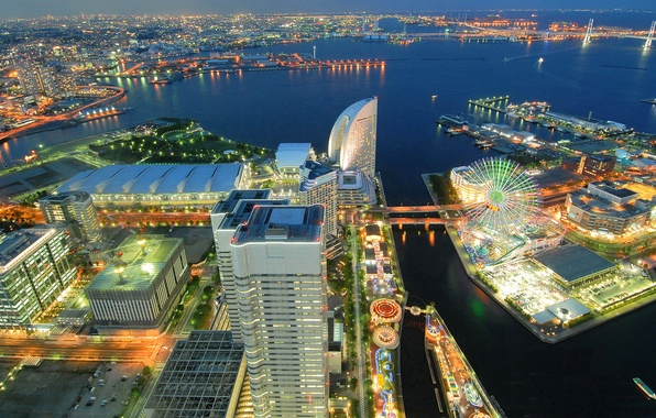 Picture sea, night, the city, lights, Japan, port