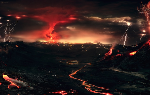 Picture the storm, mountains, night, lights, lightning, the volcano, lava