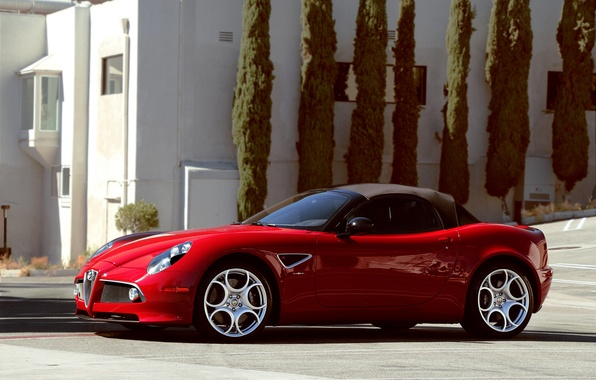 Picture trees, red, the building, spider, Alfa Romeo, red, convertible, Alfa Romeo, tree, cabrio, building
