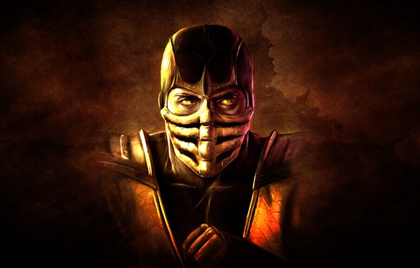 Picture the dark background, hand, mask, Scorpio, ninja, scorpion, mortal kombat
