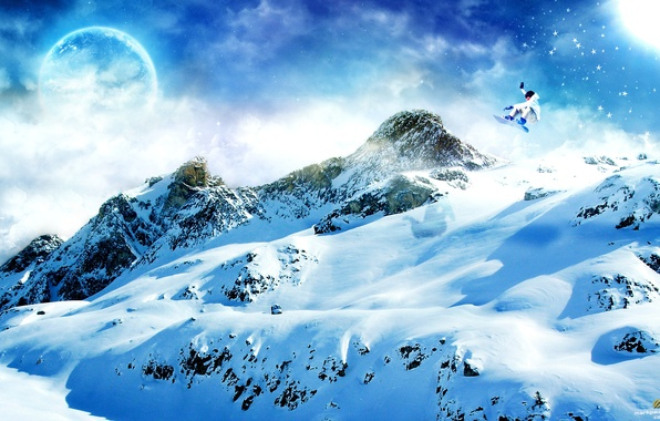 Picture snow, mountains, snowboard