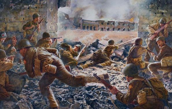 Picture War, Soldiers, Art, Shootout, WW2