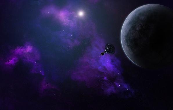 Picture space, stars, nebula, planet, satellite