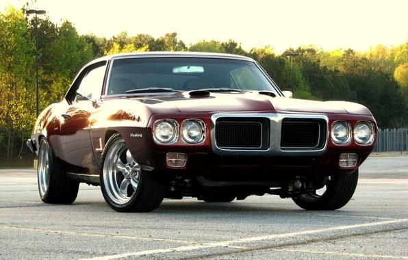 Picture trees, sunset, 1969, muscle car, sunset, muscle car, pontiac, Pontiac, firebird, Firebird., dark red, dark …