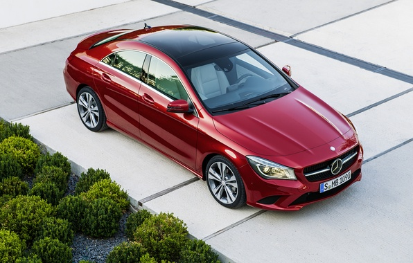 Picture road, red, Mercedes, red, Mercedes, road, bush, CLA, 220