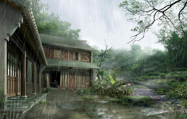 Picture house, rain, Japan, Japan, house, rain